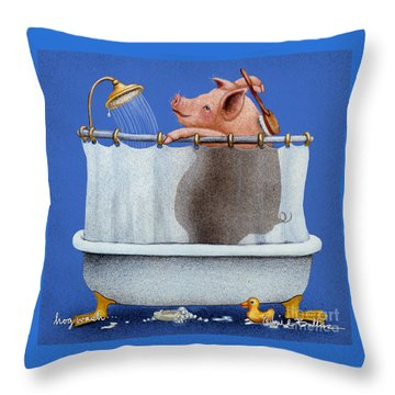 Hog Wash Throw Pillow by Will Bullas