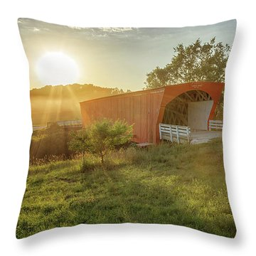 Hogback Covered Bridge 2 Throw Pillow