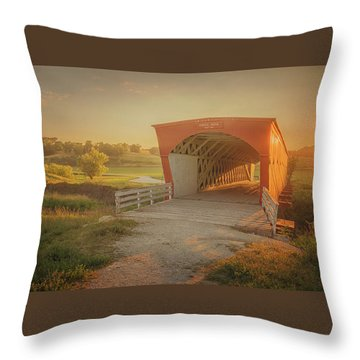 Hogback Covered Bridge Throw Pillow