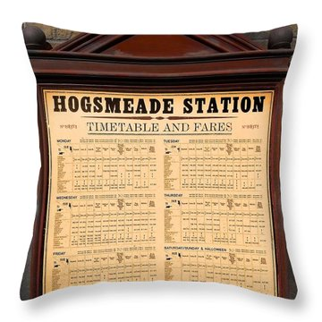 Throw Pillow featuring the photograph Hogsmeade Station Timetable by Juergen Weiss