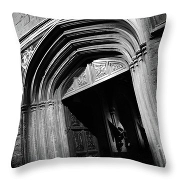Throw Pillow featuring the mixed media Hogwards Door  by Gina Dsgn