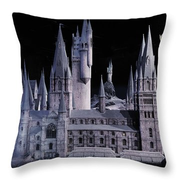 Throw Pillow featuring the mixed media Hogwards School  by Gina Dsgn