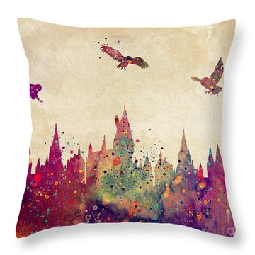 Hogwarts Castle Watercolor Art Print Throw Pillow