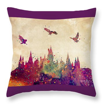 Hogwarts Castle Watercolor Art Print Throw Pillow