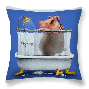 Throw Pillow featuring the painting Hogwash... by Will Bullas