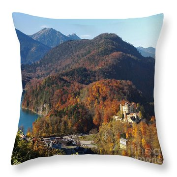 Hohenschwangau Castle And Alpsee In Bavaria Throw Pillow
