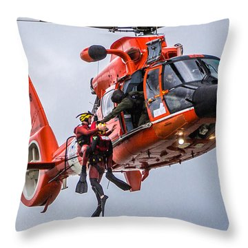 Hoisting Into Helicopter Throw Pillow