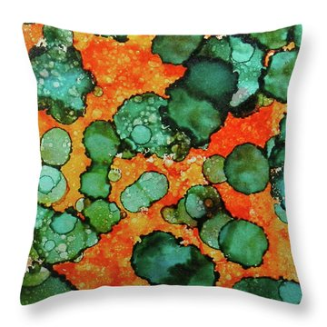 Throw Pillow featuring the painting Hojo Flow Ink #10 by Sarajane Helm