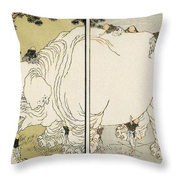Hokusai: Elephant Throw Pillow by Granger