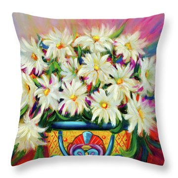 Hola Daisies Throw Pillow
