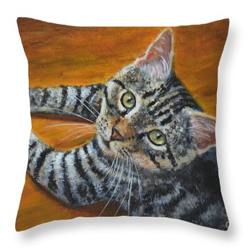 Holding Down The Floor Throw Pillow by Jana Baker