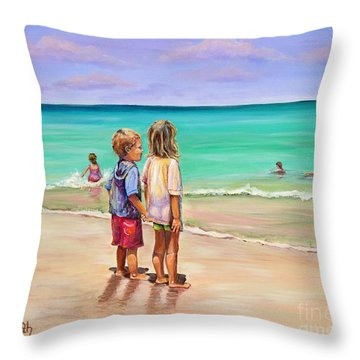 Holding Hands Throw Pillow by Patricia Piffath