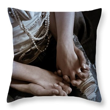 Holding Hands Throw Pillow by Scott Sawyer