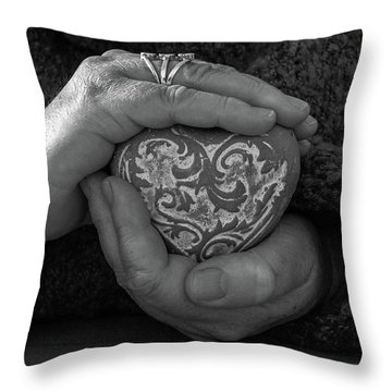 Holding My Heart In My Hands Throw Pillow