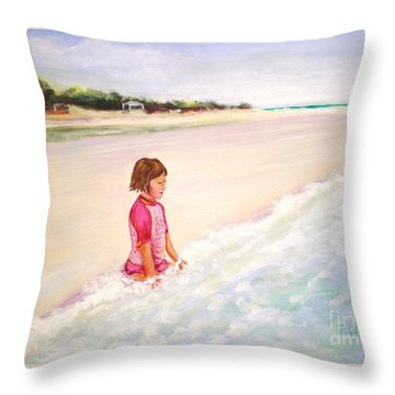 Holding The Ocean Throw Pillow by Patricia Piffath