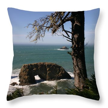 Throw Pillow featuring the photograph Hole In One At Arch Rock by Marie Neder