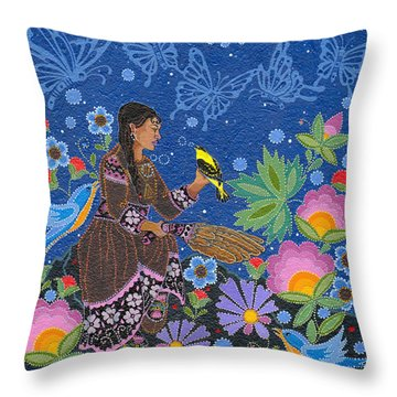 Throw Pillow featuring the painting Hole In The Sky's Daughter by Chholing Taha