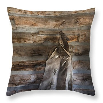 Hole-in-the-wall Cabin At Old Trail Town In Cody In Wyoming Throw Pillow