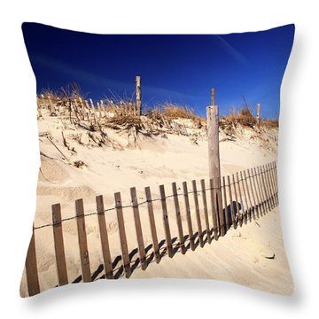 Throw Pillow featuring the photograph Holgate Dune Fence by John Rizzuto