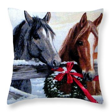 Holiday Barnyard Throw Pillow by Judyann Matthews