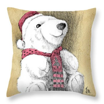 Throw Pillow featuring the drawing Holiday Bear Card by Joe Winkler