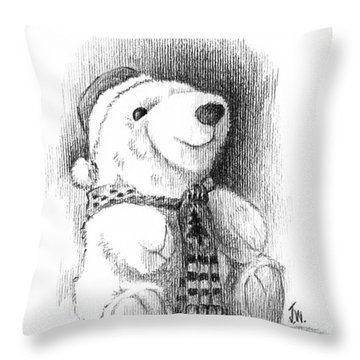 Throw Pillow featuring the drawing Holiday Bear by Joe Winkler