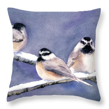 Holiday Chickadees Throw Pillow
