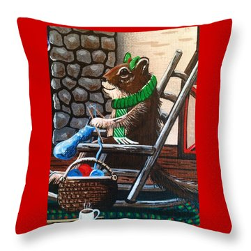 Holiday Knitting Throw Pillow