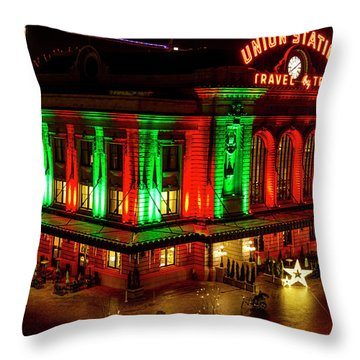 Holiday Lights At Union Station Denver Throw Pillow