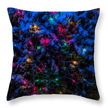 Holiday Lights In Snow Throw Pillow