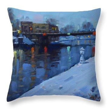 Holiday Lights In Tonawanda Canal  Throw Pillow