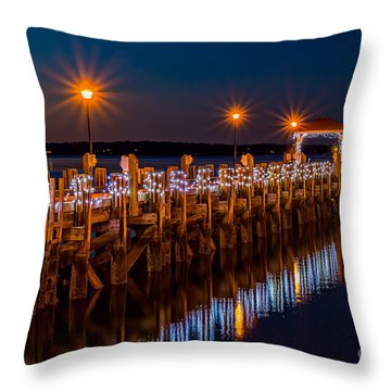 Holiday On The Docks Throw Pillow