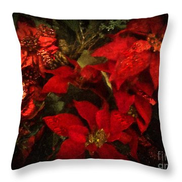 Holiday Painted Poinsettias Throw Pillow