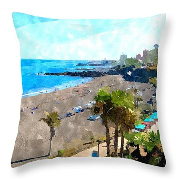 Holiday Resort Beach Painting Throw Pillow