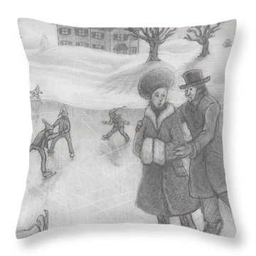 Holiday Skate Date Throw Pillow