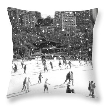 Holiday Skaters Throw Pillow