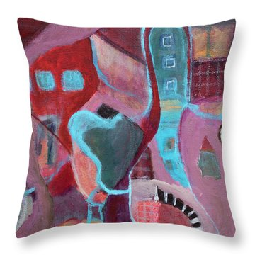 Throw Pillow featuring the painting Holiday Windows by Susan Stone