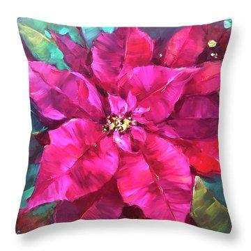 Holiday Wish Pink Poinsettias Throw Pillow