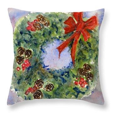 Holiday Wreath Throw Pillow