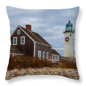 Holiday Wreath On The Lighthouse Throw Pillow by Brian MacLean