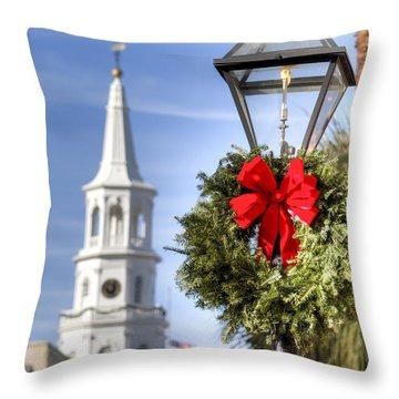 Holiday Wreath St Michaels Church Charleston Sc Throw Pillow by Dustin K Ryan