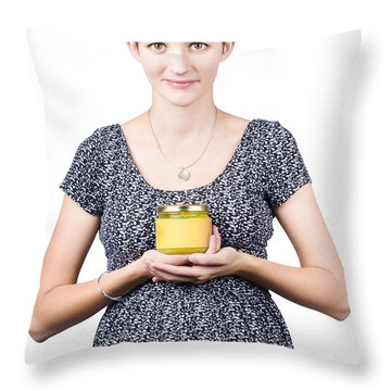 Holistic Naturopath Holding Jar Of Homemade Spread Throw Pillow by Jorgo Photography - Wall Art Gallery