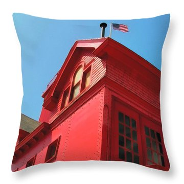 Holland Harbor Light From The Bottom Up Throw Pillow by Michelle Calkins
