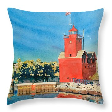 Throw Pillow featuring the painting Holland Lighthouse - Big Red by LeAnne Sowa