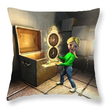 Throw Pillow featuring the painting Holly And The Magic Clock by Dave Luebbert