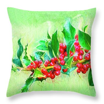 Throw Pillow featuring the photograph Holly Berries Photo Art by Sharon Talson