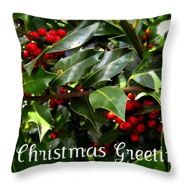 Holly Branches Throw Pillow