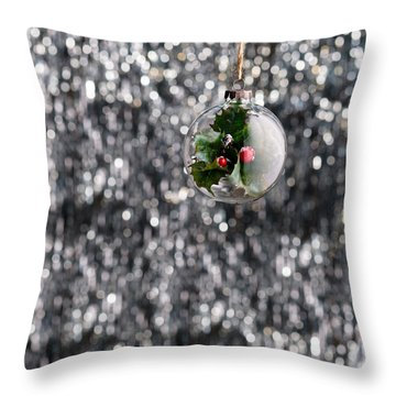 Throw Pillow featuring the photograph Holly Christmas Bauble  by Ulrich Schade