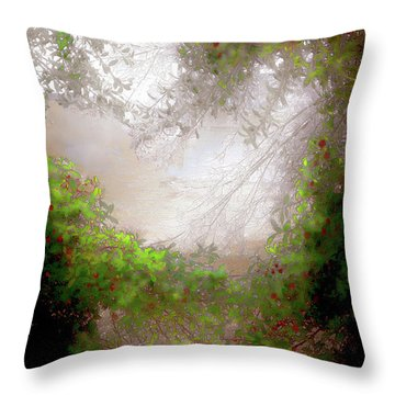 Throw Pillow featuring the photograph Holly Heart by Bonnie Willis