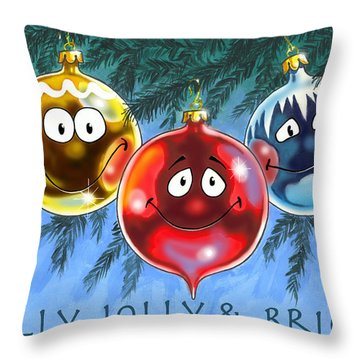 Holly Jolly And Bright Throw Pillow by Richard De Wolfe